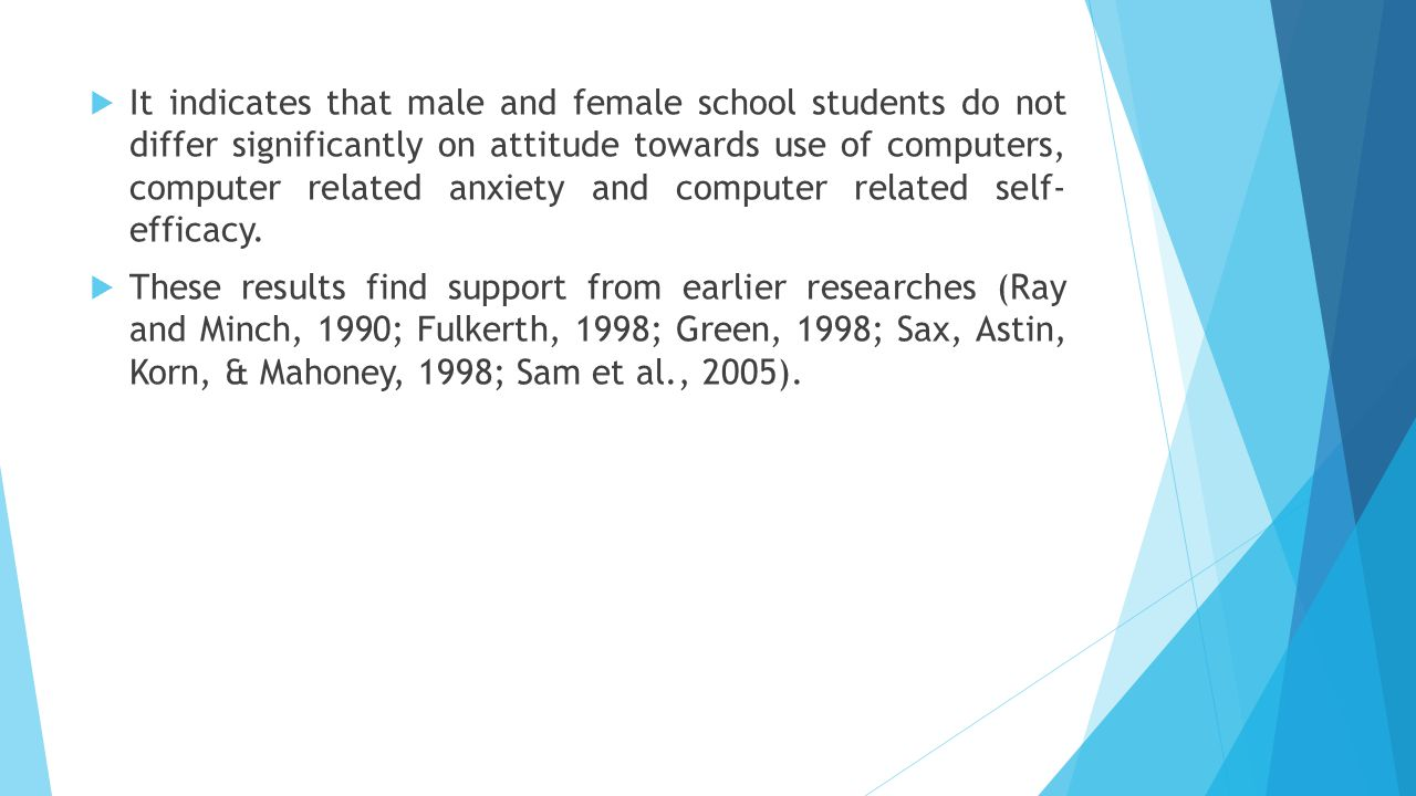  It indicates that male and female school students do not differ significantly on attitude towards use of computers, computer related anxiety and com