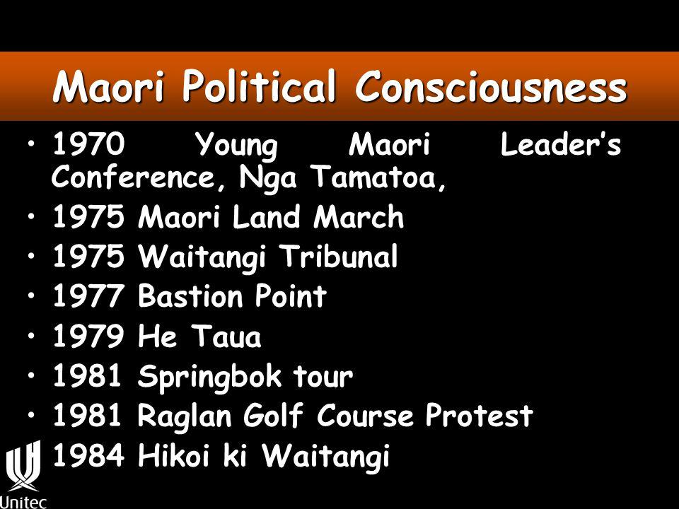 Maori Political Consciousness 1970 Young Maori Leader's Conference, Nga Tamatoa, 1975 Maori Land March 1975 Waitangi Tribunal 1977 Bastion Point 1979 He Taua 1981 Springbok tour 1981 Raglan Golf Course Protest 1984 Hikoi ki Waitangi