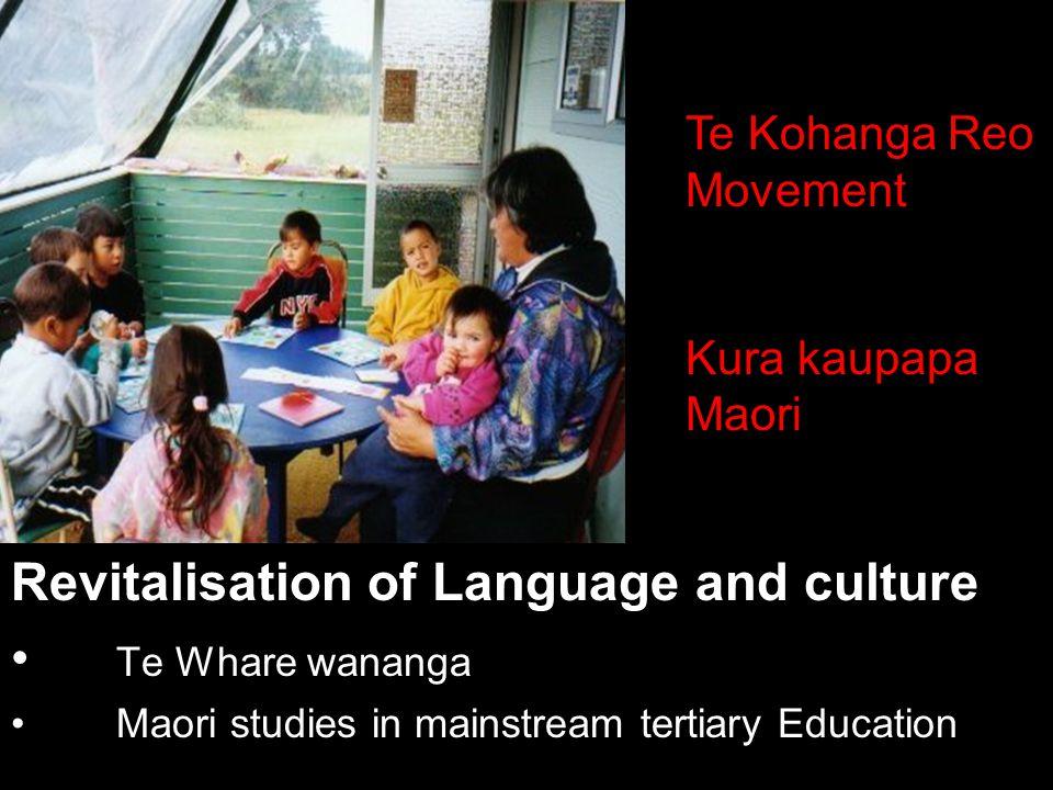 Revitalisation of Language and culture Te Whare wananga Maori studies in mainstream tertiary Education Te Kohanga Reo Movement Kura kaupapa Maori