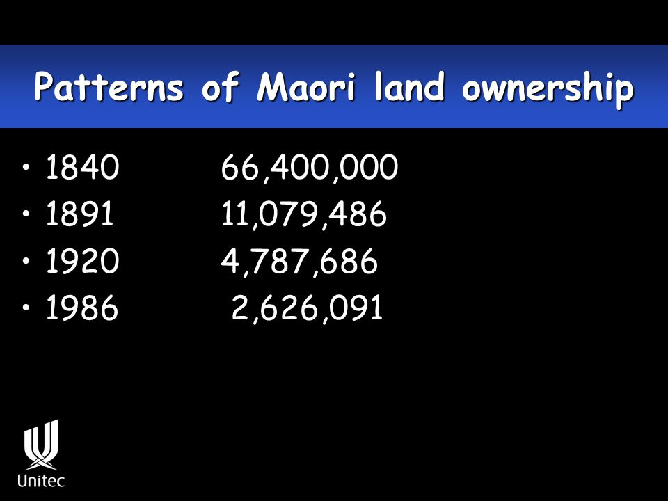 Disposal of confiscated land Opotiki Total land confiscated - 448,000 Land returned - 230,600 Taranaki Total land confiscated - 1199,622 No land returned Waikato Total land confiscated -1217,437 Land returned - 50,000 (Waitangi Tribunal 1996)
