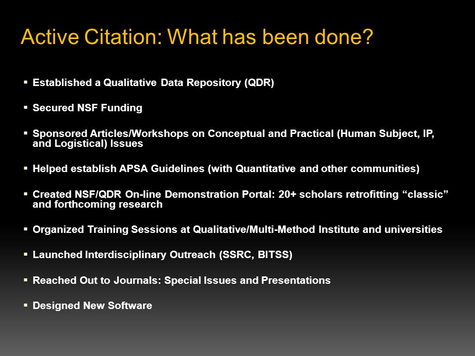 Active Citation: What has been done.