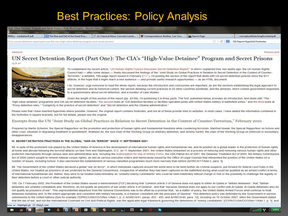Best Practices: Policy Analysis