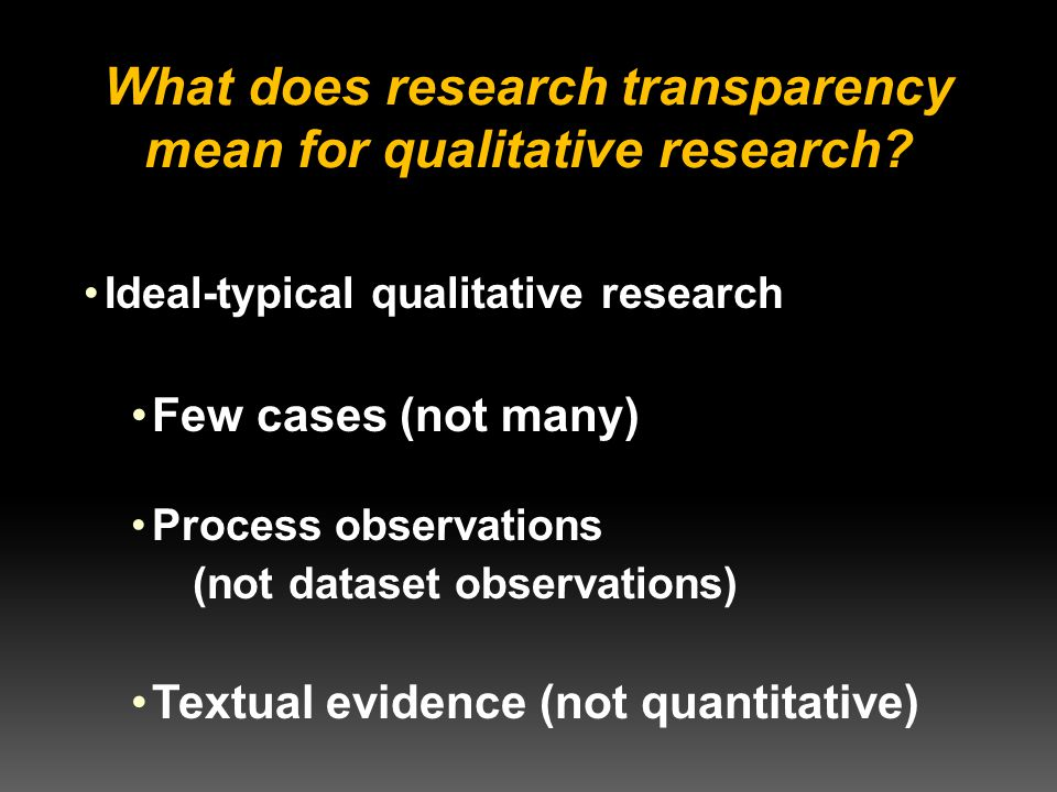 What does research transparency mean for qualitative research.