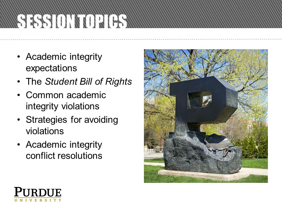 SESSION TOPICS Academic integrity expectations The Student Bill of Rights Common academic integrity violations Strategies for avoiding violations Academic integrity conflict resolutions