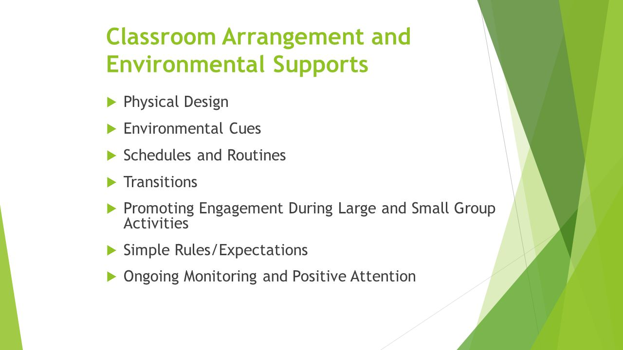 Classroom Arrangement and Environmental Supports  Physical Design  Environmental Cues  Schedules and Routines  Transitions  Promoting Engagement