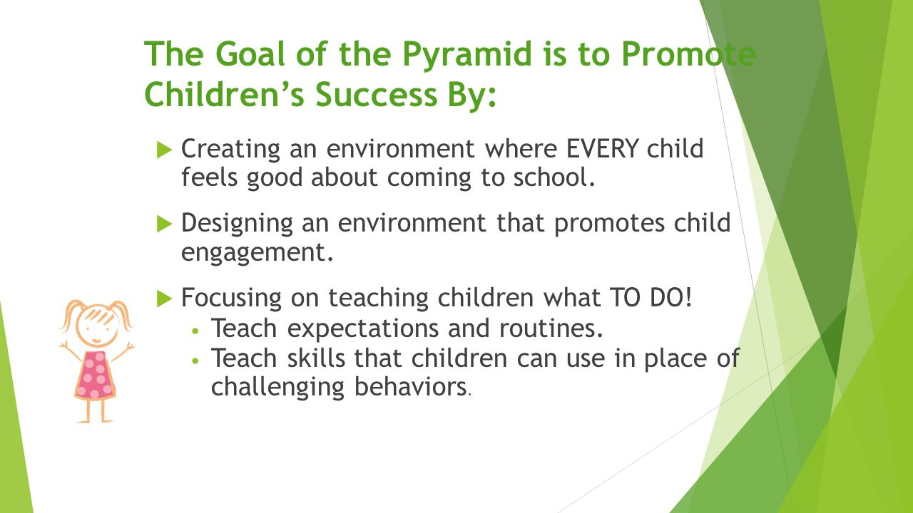 The Goal of the Pyramid is to Promote Children's Success By:  Creating an environment where EVERY child feels good about coming to school.  Designin