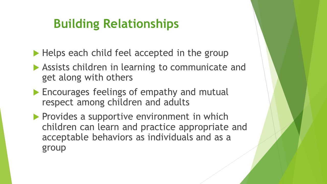 Building Relationships  Helps each child feel accepted in the group  Assists children in learning to communicate and get along with others  Encoura