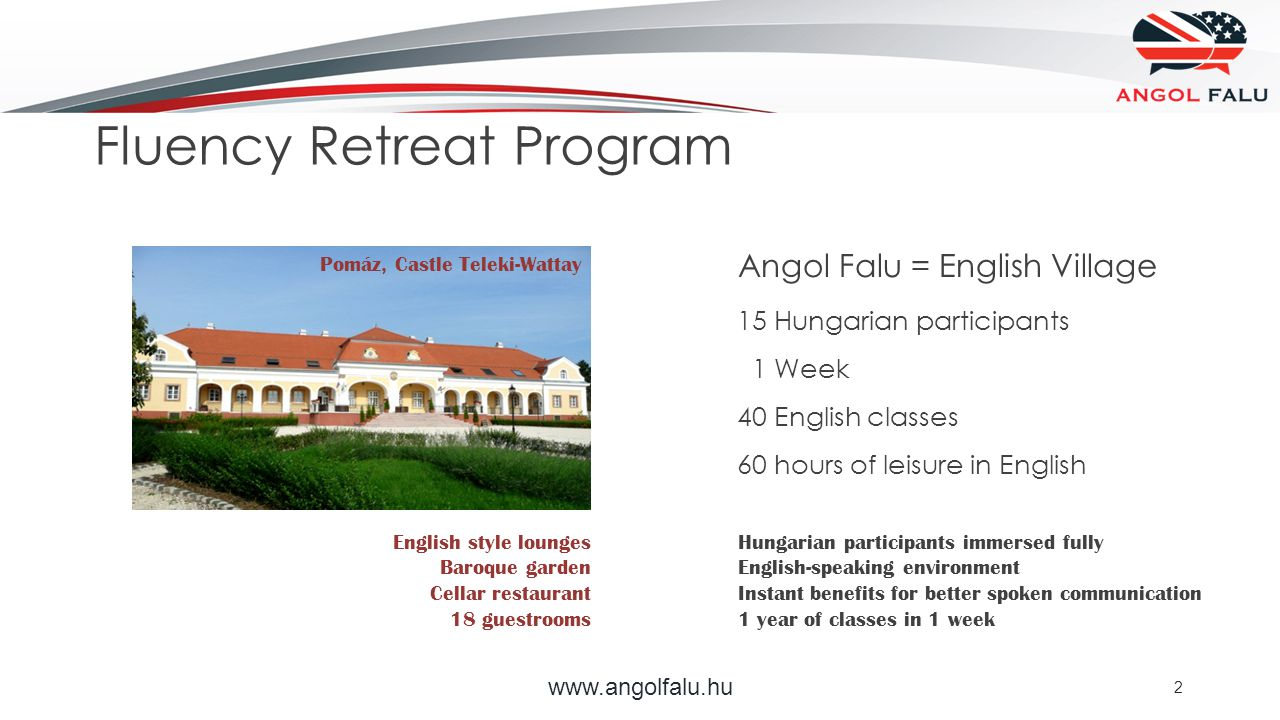 www.angolfalu.hu 2 Pomáz, Castle Teleki-Wattay Angol Falu = English Village 15 Hungarian participants 1 Week 40 English classes 60 hours of leisure in