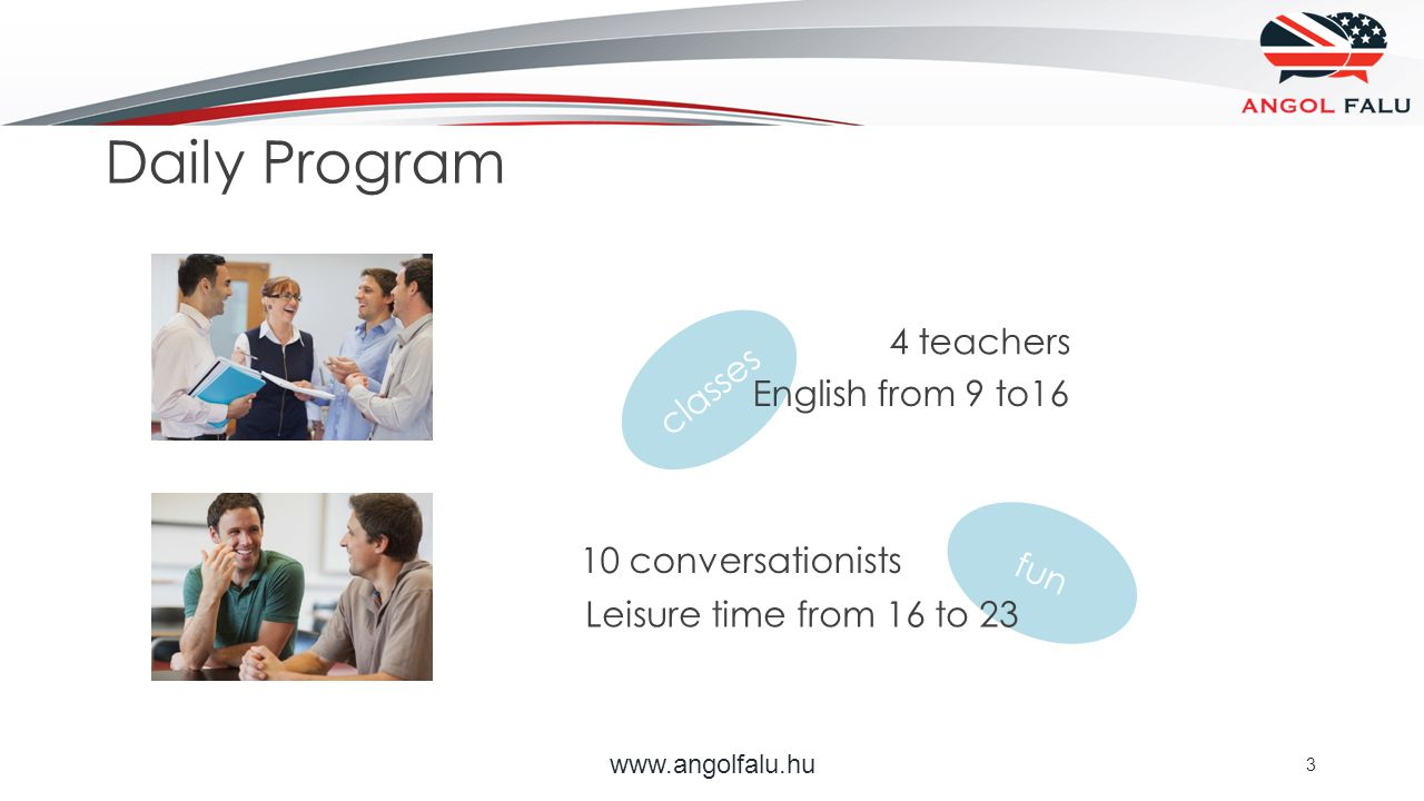 fun classes www.angolfalu.hu 3 10 conversationists English from 9 to16 Leisure time from 16 to 23 4 teachers Daily Program
