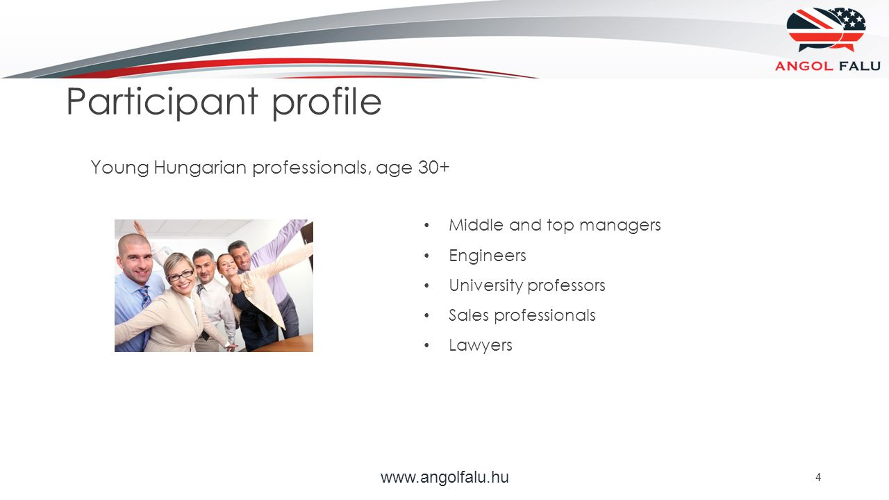 Participant profile www.angolfalu.hu 4 Middle and top managers Engineers University professors Sales professionals Lawyers Young Hungarian professionals, age 30+