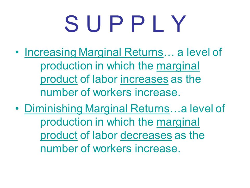 S U P P L Y Increasing Marginal Returns… a level of production in which the marginal product of labor increases as the number of workers increase. Dim