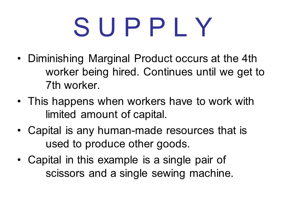 S U P P L Y Diminishing Marginal Product occurs at the 4th worker being hired. Continues until we get to 7th worker. This happens when workers have to