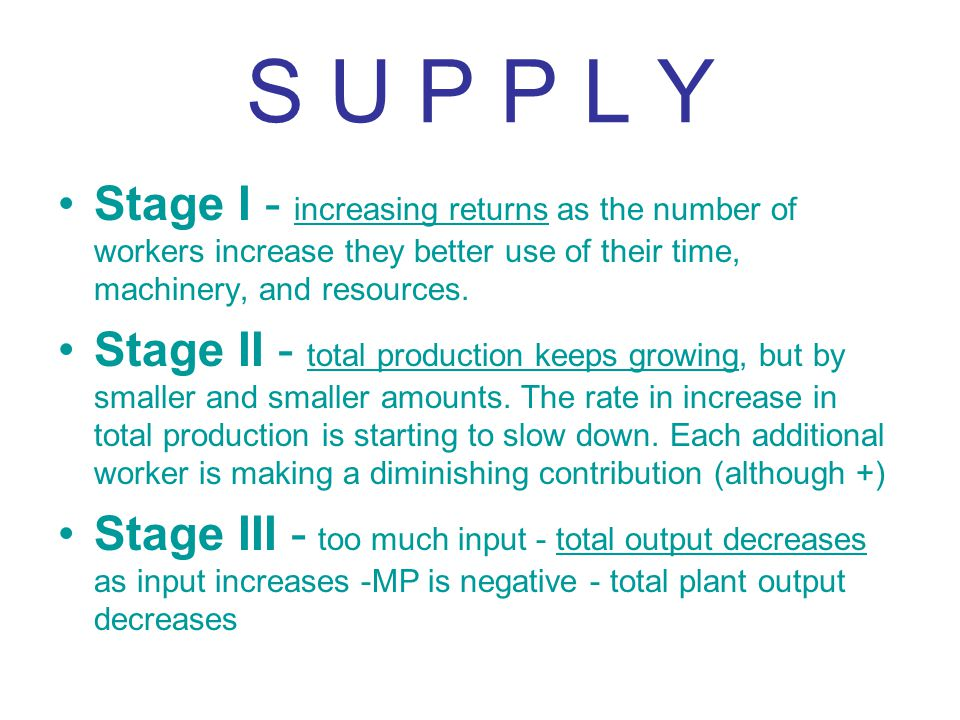 S U P P L Y Stage I - increasing returns as the number of workers increase they better use of their time, machinery, and resources. Stage II - total p