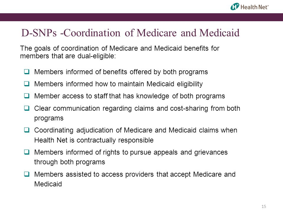 15 D-SNPs -Coordination of Medicare and Medicaid The goals of coordination of Medicare and Medicaid benefits for members that are dual-eligible:  Mem