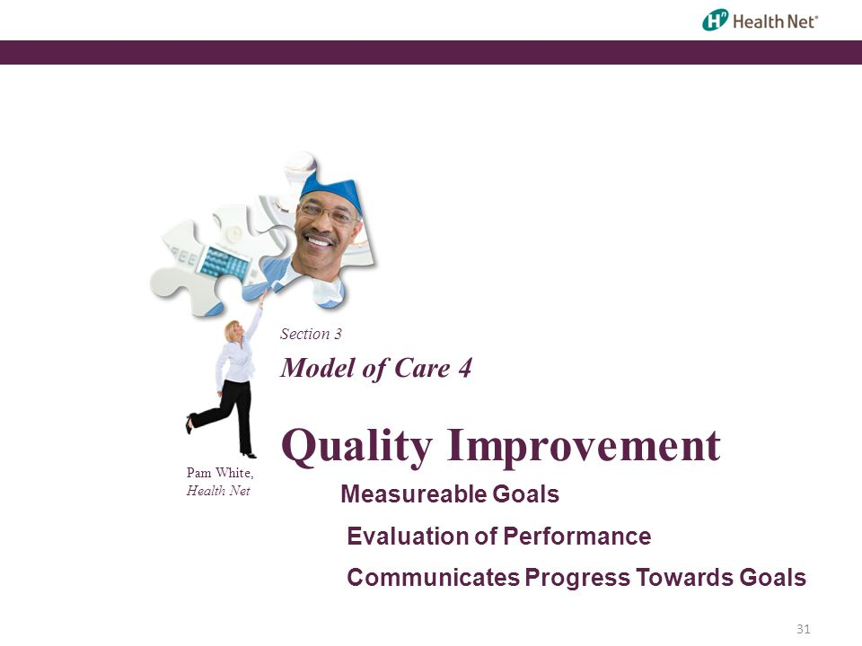 Pam White, Health Net Model of Care 4 Quality Improvement Measureable Goals Evaluation of Performance Communicates Progress Towards Goals Section 3 31