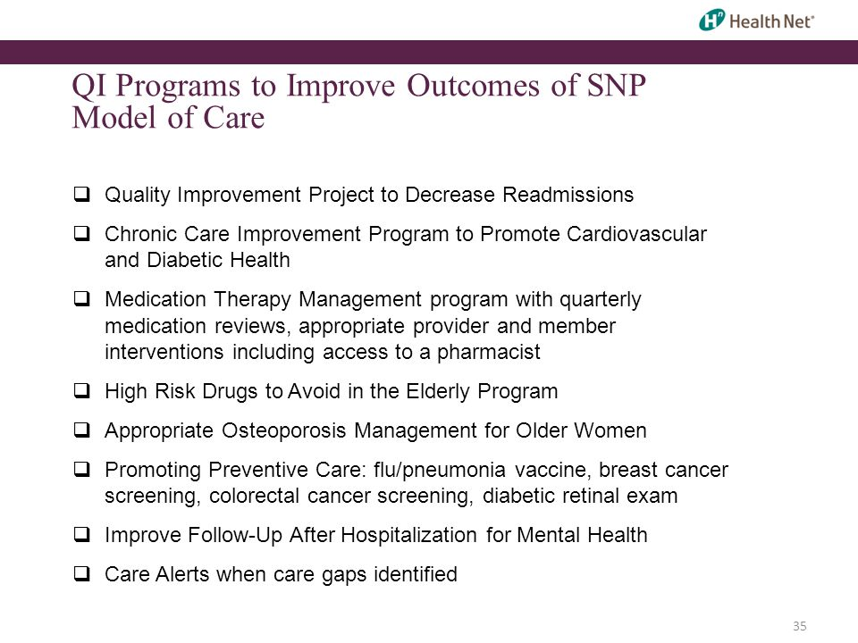 QI Programs to Improve Outcomes of SNP Model of Care  Quality Improvement Project to Decrease Readmissions  Chronic Care Improvement Program to Promote Cardiovascular and Diabetic Health  Medication Therapy Management program with quarterly medication reviews, appropriate provider and member interventions including access to a pharmacist  High Risk Drugs to Avoid in the Elderly Program  Appropriate Osteoporosis Management for Older Women  Promoting Preventive Care: flu/pneumonia vaccine, breast cancer screening, colorectal cancer screening, diabetic retinal exam  Improve Follow-Up After Hospitalization for Mental Health  Care Alerts when care gaps identified 35