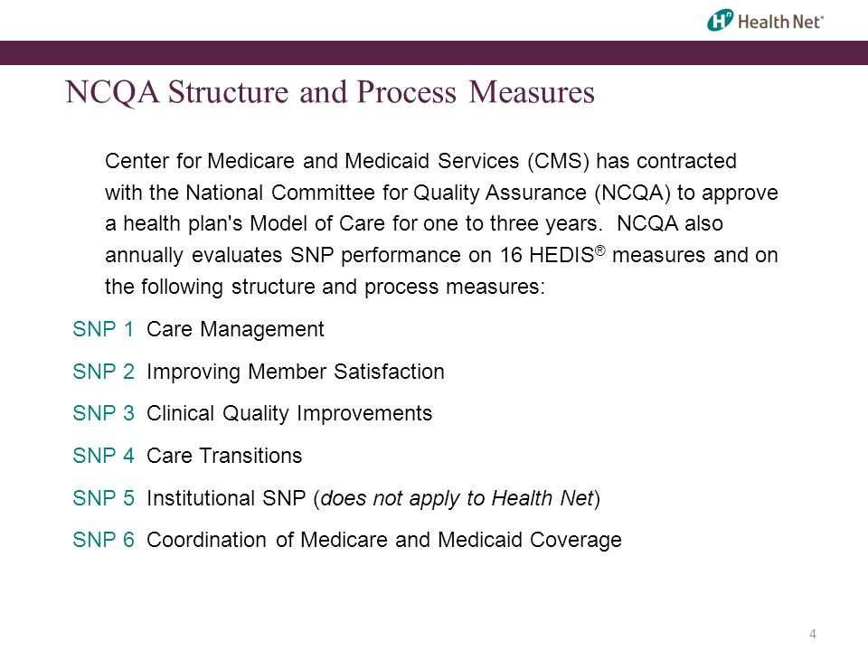 4 NCQA Structure and Process Measures Center for Medicare and Medicaid Services (CMS) has contracted with the National Committee for Quality Assurance