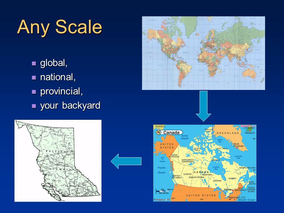 Any Scale global, global, national, national, provincial, provincial, your backyard your backyard