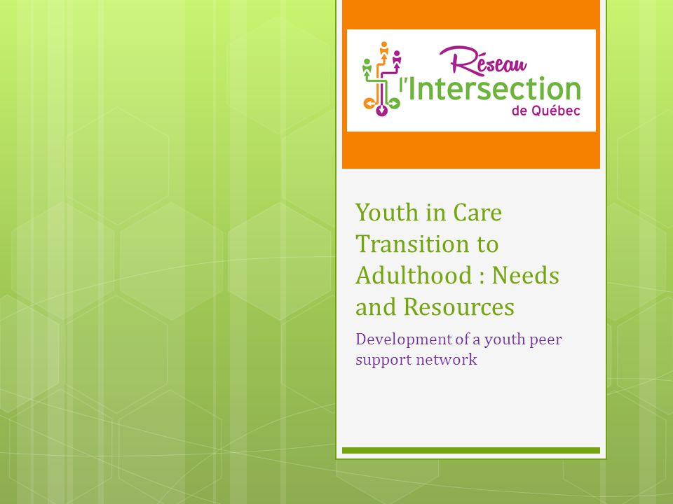 Youth in Care Transition to Adulthood : Needs and Resources Development of a youth peer support network