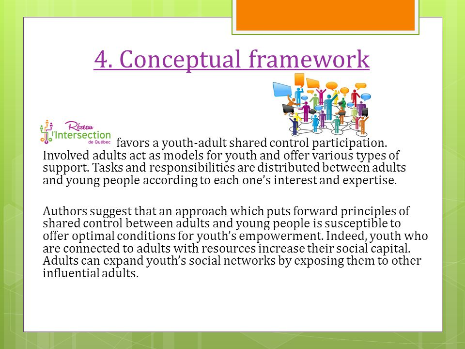 4. Conceptual framework favors a youth-adult shared control participation.