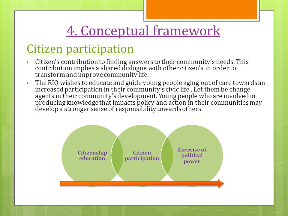 4. Conceptual framework Citizen participation  Citizen's contribution to finding answers to their community's needs. This contribution implies a shar