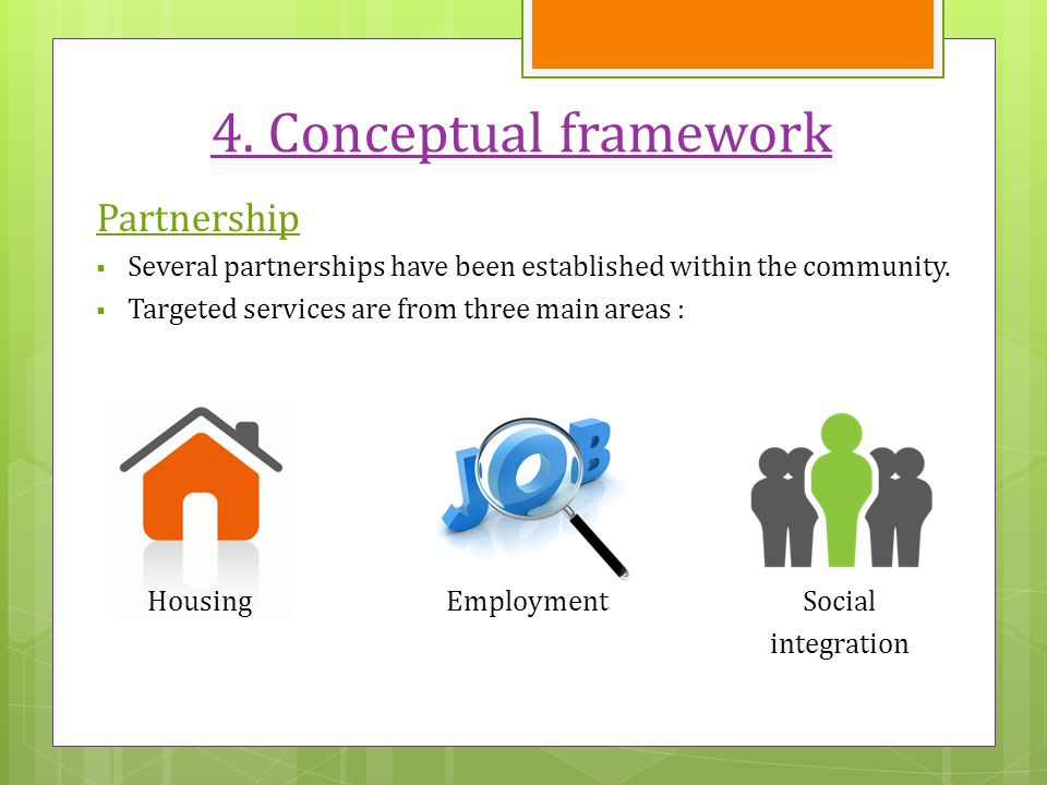 4. Conceptual framework Partnership  Several partnerships have been established within the community.  Targeted services are from three main areas :