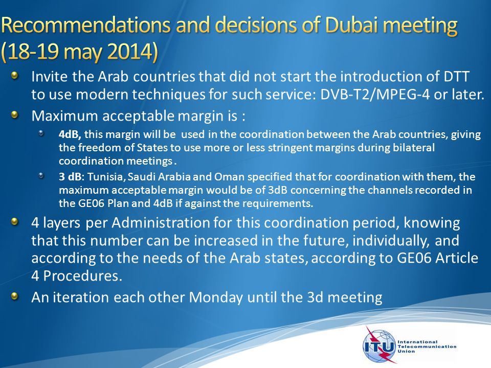 Hold two coordination meetings as follows: Second Coordination Meeting, will be held in Tunisia during September 2014.