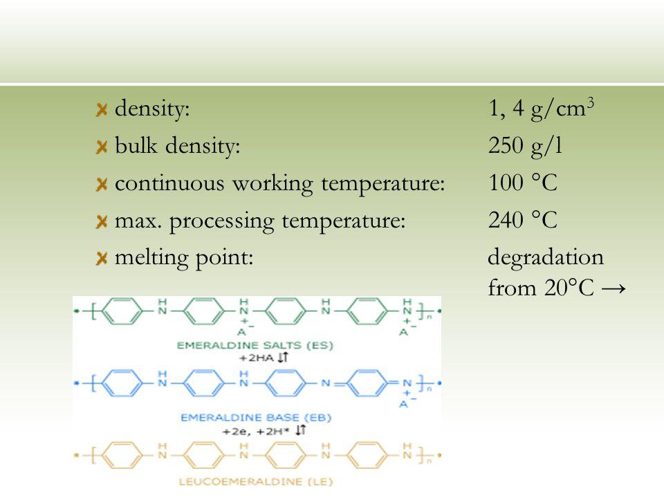 density:1, 4 g/cm 3 bulk density:250 g/l continuous working temperature: 100 °C max.