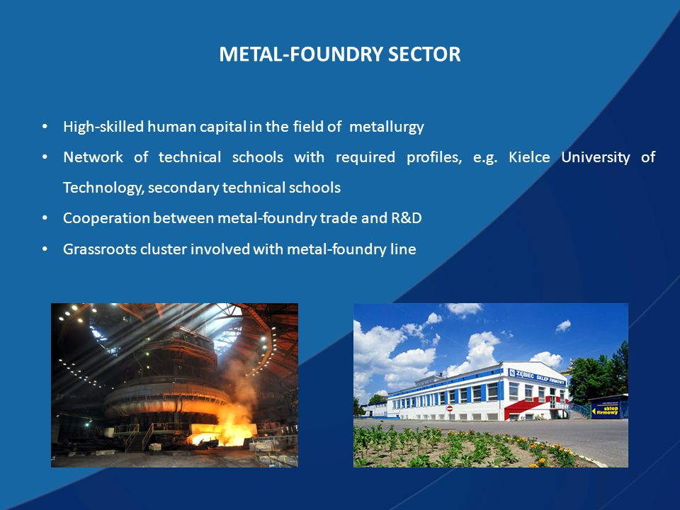 METAL-FOUNDRY SECTOR High-skilled human capital in the field of metallurgy Network of technical schools with required profiles, e.g.