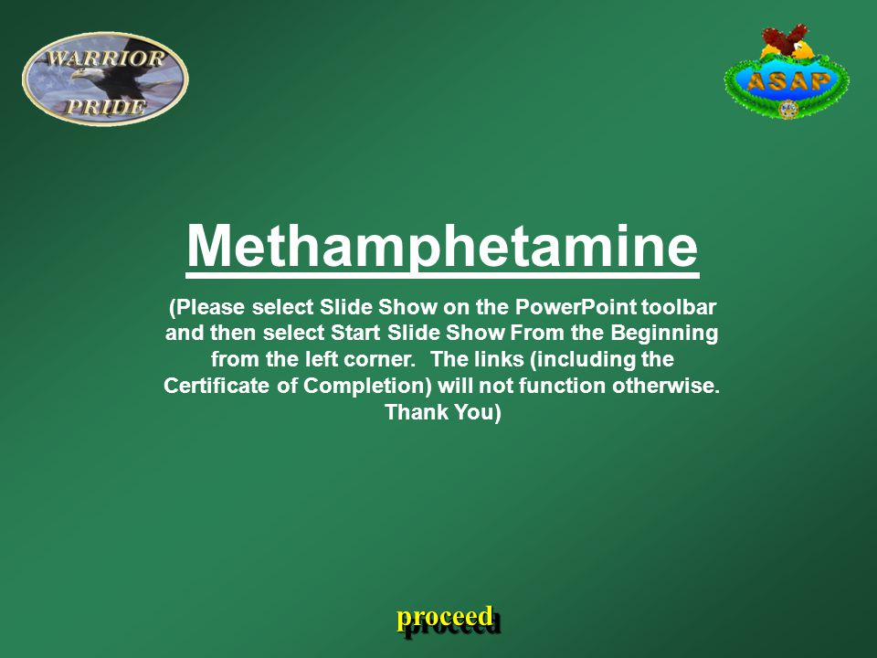 Methamphetamine (Please select Slide Show on the PowerPoint toolbar and then select Start Slide Show From the Beginning from the left corner. The link
