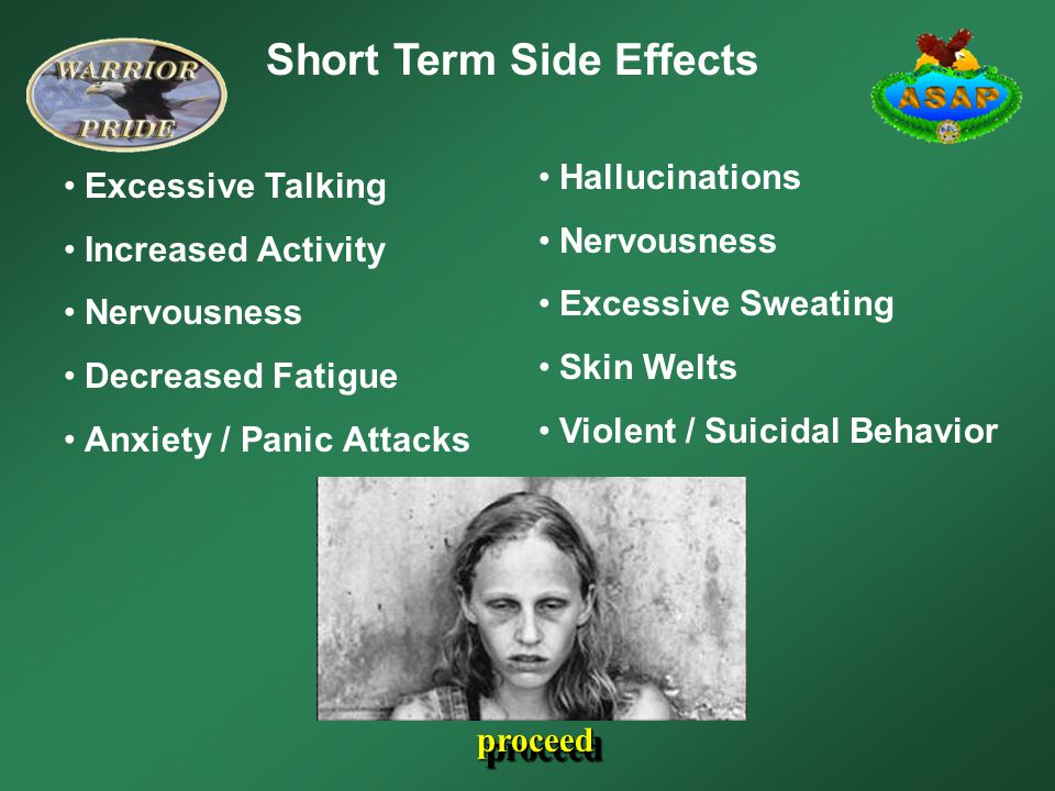 Short Term Side Effects Excessive Talking Increased Activity Nervousness Decreased Fatigue Anxiety / Panic Attacks Hallucinations Nervousness Excessive Sweating Skin Welts Violent / Suicidal Behavior proceed