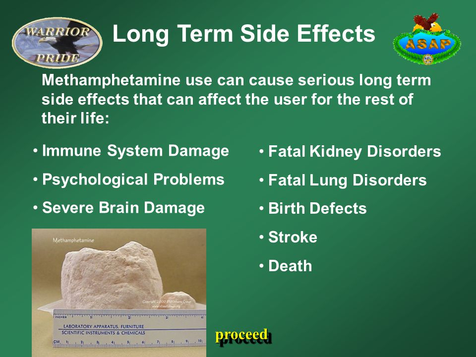 Long Term Side Effects Methamphetamine use can cause serious long term side effects that can affect the user for the rest of their life: Immune System Damage Psychological Problems Severe Brain Damage Fatal Kidney Disorders Fatal Lung Disorders Birth Defects Stroke Death proceed
