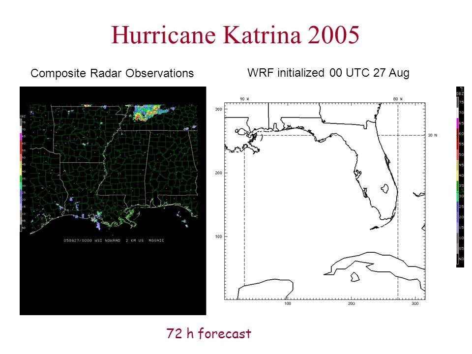 Hurricane Katrina 2005 WRF initialized 00 UTC 27 Aug Composite Radar Observations 72 h forecast