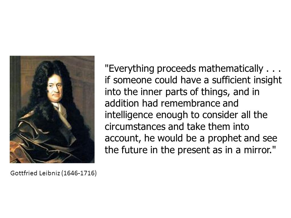 The Marquis de Laplace dreamed of an intelligent being (an intellect, later dubbed Laplace s Demon) who knew the positions and velocities of every single atom and used Newton s equations of motion to predict the future of the entire universe.