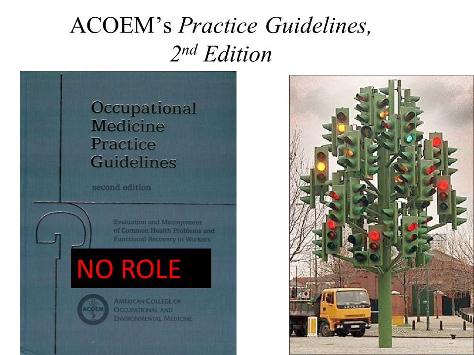 37 ACOEM's Practice Guidelines, 2 nd Edition NO ROLE