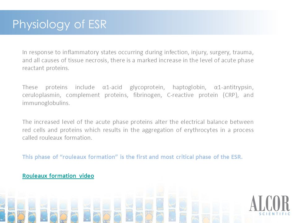 Physiology of ESR In response to inflammatory states occurring during infection, injury, surgery, trauma, and all causes of tissue necrosis, there is