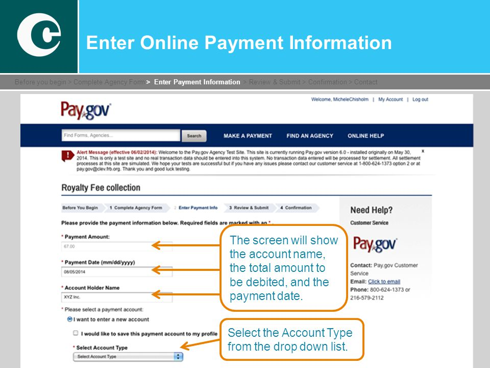 Enter Online Payment Information Select the Account Type from the drop down list.