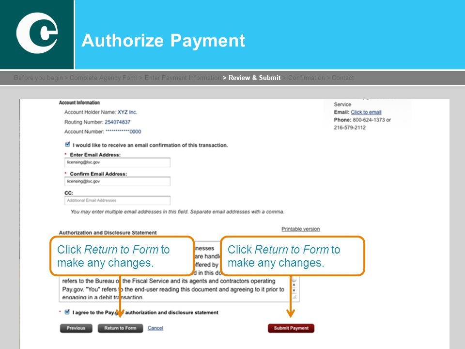 Click Return to Form to make any changes.