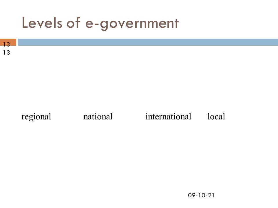 09-10-21 Levels of e-government nationalregionallocalinternational13
