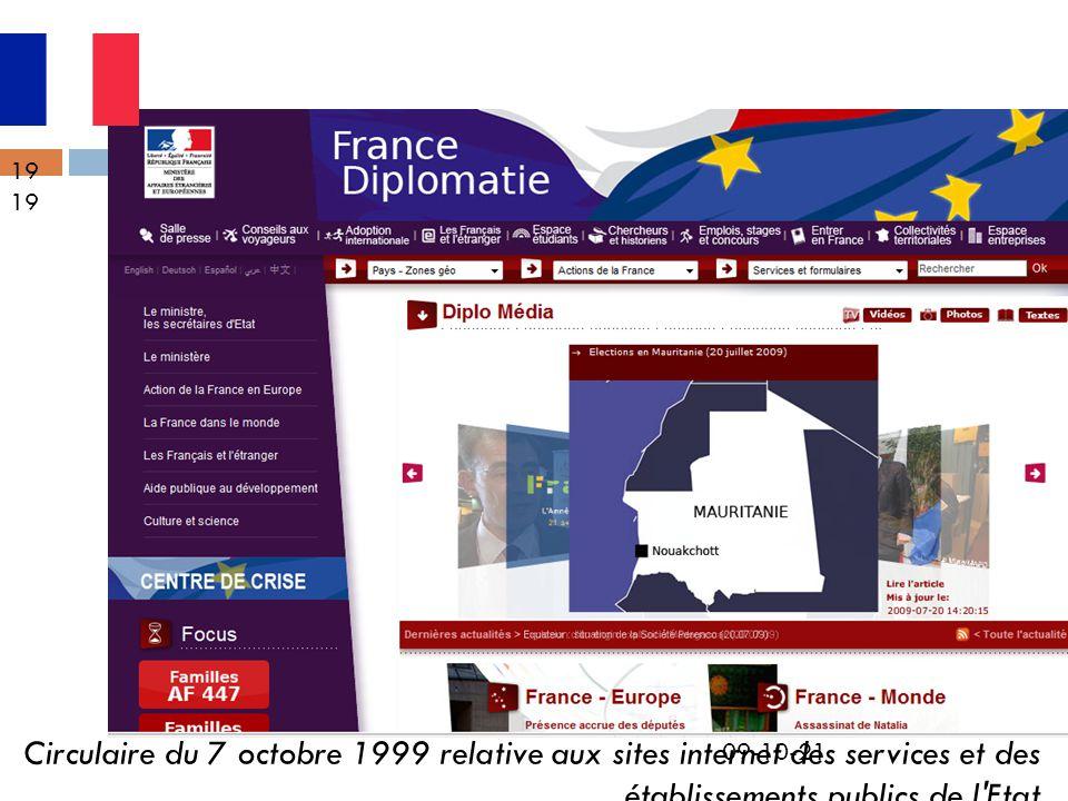 09-10-21 19 Circulaire du 7 octobre 1999 relative aux sites internet des services et des établissements publics de l'Etat