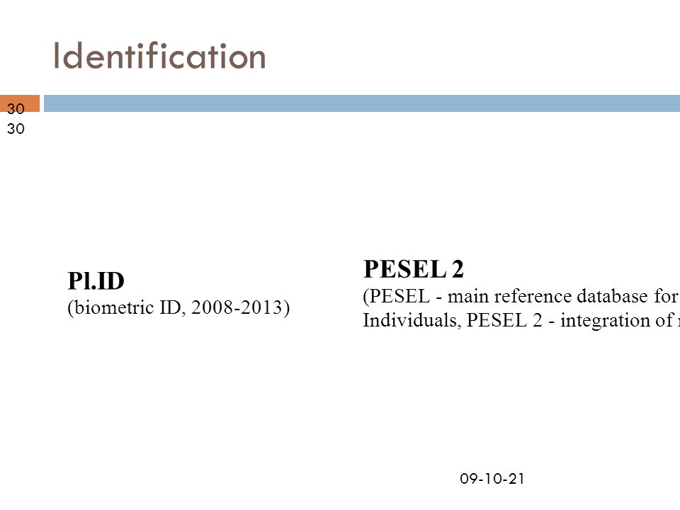 Identification PESEL 2 (PESEL - main reference database for Individuals, PESEL 2 - integration of registries) Pl.ID (biometric ID, 2008-2013)30