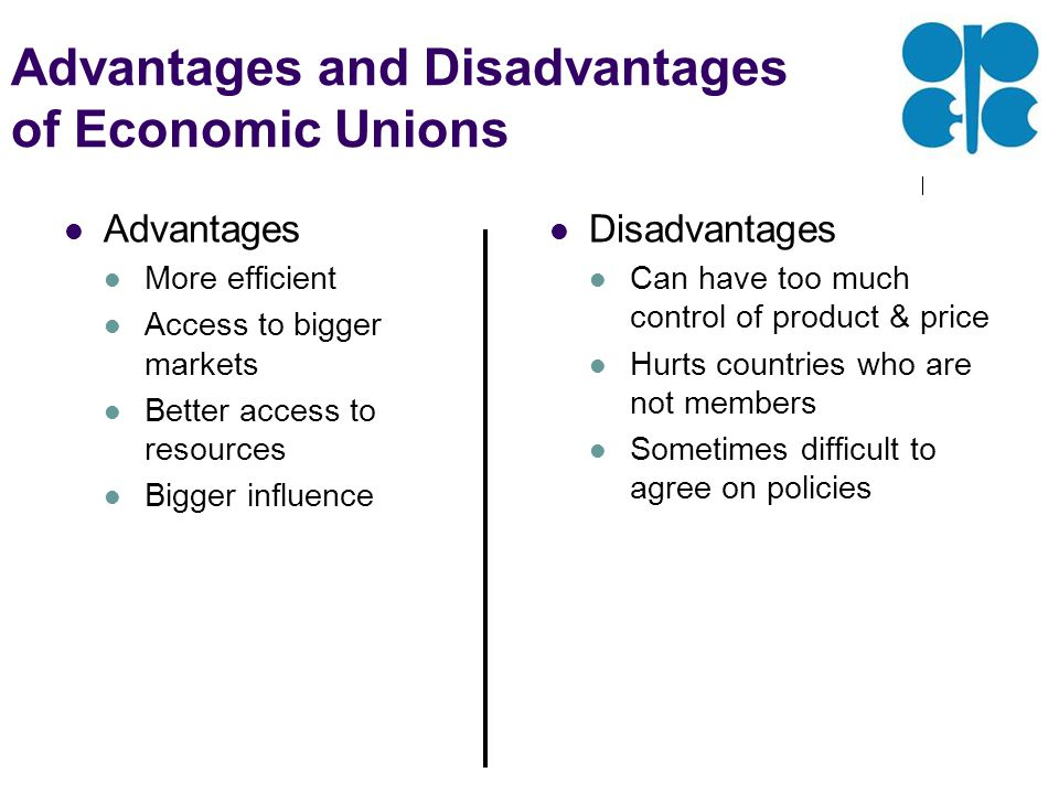 Advantages and Disadvantages of Economic Unions Advantages More efficient Access to bigger markets Better access to resources Bigger influence Disadvantages Can have too much control of product & price Hurts countries who are not members Sometimes difficult to agree on policies