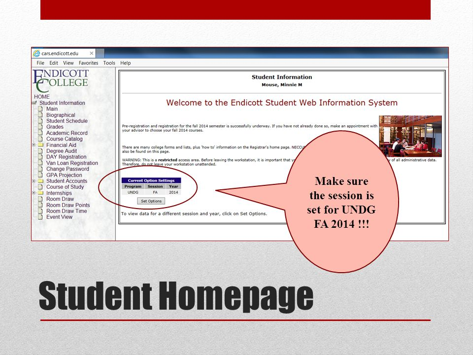 Student Homepage Make sure the session is set for UNDG FA 2014 !!!