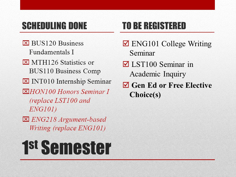 1 st Semester SCHEDULING DONE  BUS120 Business Fundamentals I  MTH126 Statistics or BUS110 Business Comp  INT010 Internship Seminar  HON100 Honors Seminar I (replace LST100 and ENG101)  ENG218 Argument-based Writing (replace ENG101) TO BE REGISTERED  ENG101 College Writing Seminar  LST100 Seminar in Academic Inquiry  Gen Ed or Free Elective Choice(s)