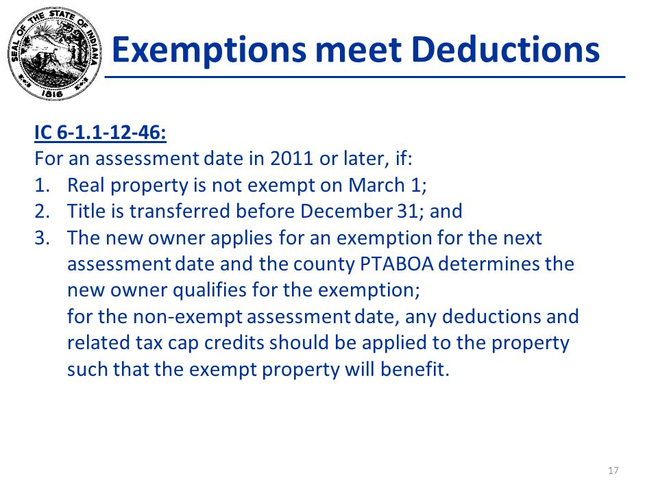 Exemptions meet Deductions IC 6-1.1-12-46: For an assessment date in 2011 or later, if: 1.Real property is not exempt on March 1; 2.Title is transferred before December 31; and 3.The new owner applies for an exemption for the next assessment date and the county PTABOA determines the new owner qualifies for the exemption; for the non-exempt assessment date, any deductions and related tax cap credits should be applied to the property such that the exempt property will benefit.