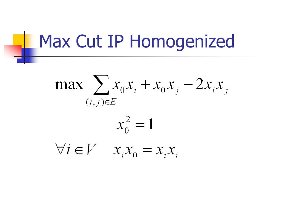 Max Cut IP Homogenized