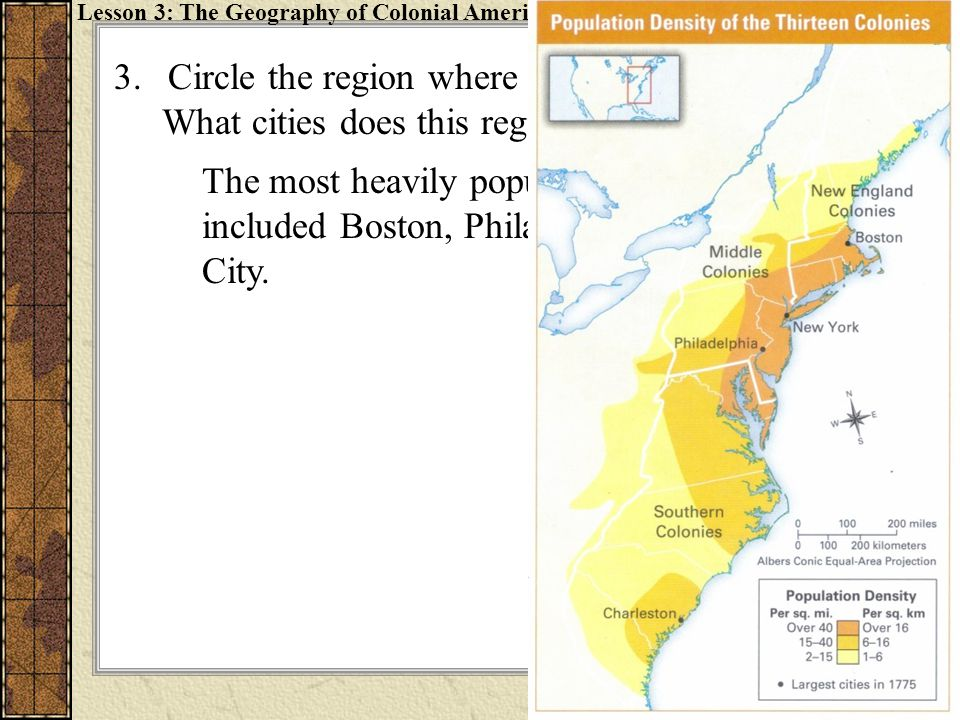 4.Shade in the colonies that had large populations of Loyalists.