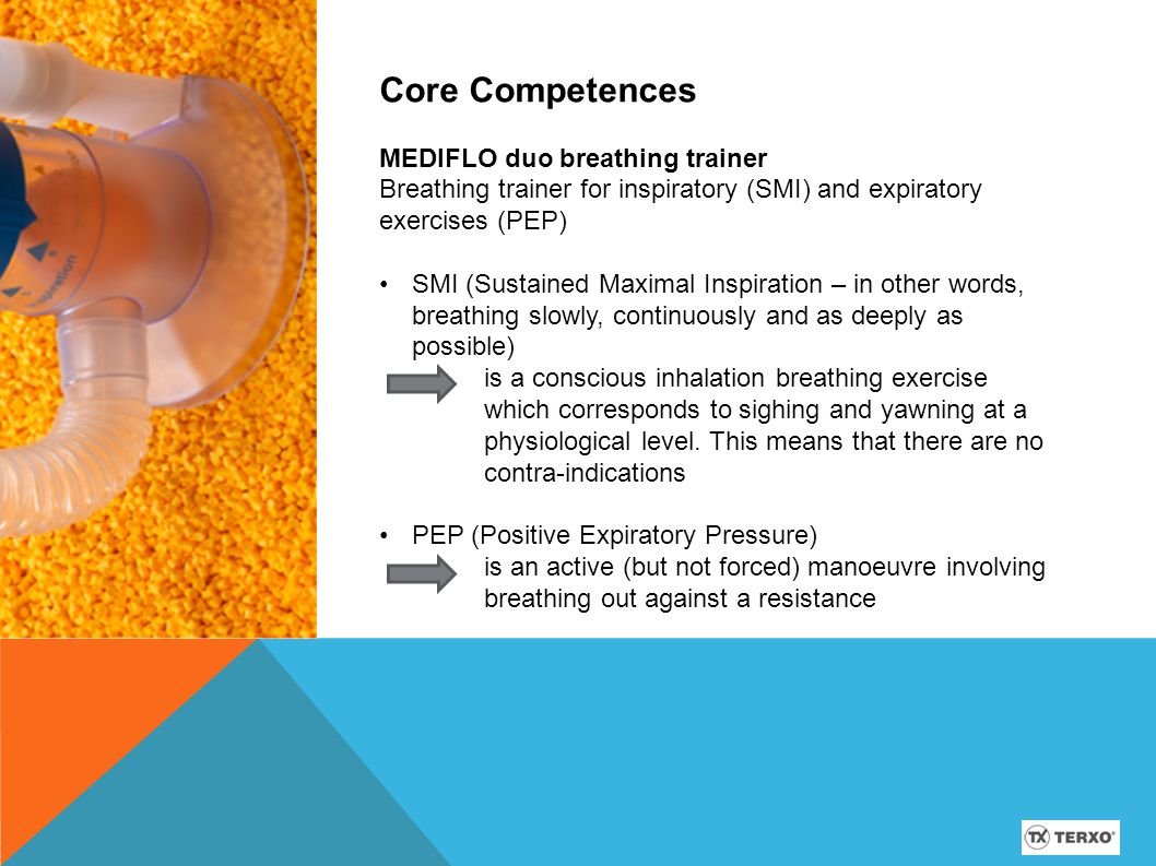 Applications Respiratory problems and convalescence manually operated, flow-oriented breathing trainer with scale reading inspiratory and expiratory breathing exercises breathing training using SMI technique and PEP method the MEDIFLO duo is free from PVC and latex 12-15 cm H2O pressure