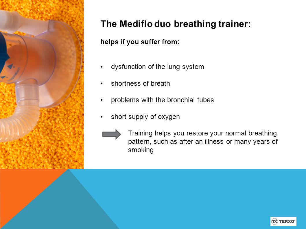 The Mediflo duo breathing trainer: can be used for both inhalation and exhalation therapy.
