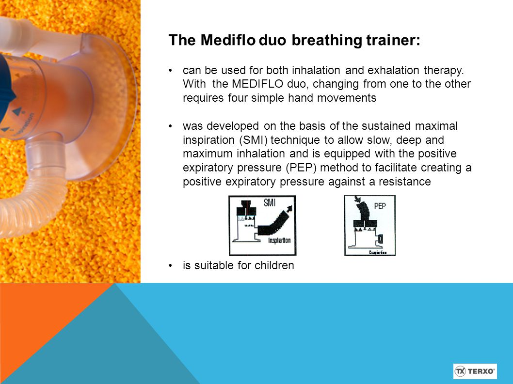With the Mediflo duo breathing trainer: You improve your health with regular inspiratory breathing exercises by learning to use your lung volume more intensively once again.